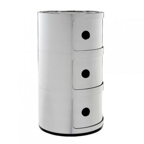 meuble rangement componibili 3 elements kartell chrome