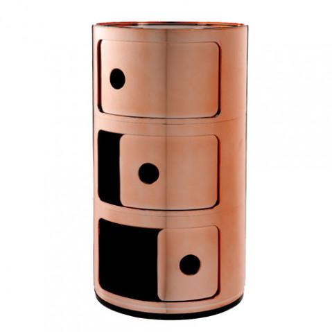 meuble rangement componibili 3 elements kartell cuivre