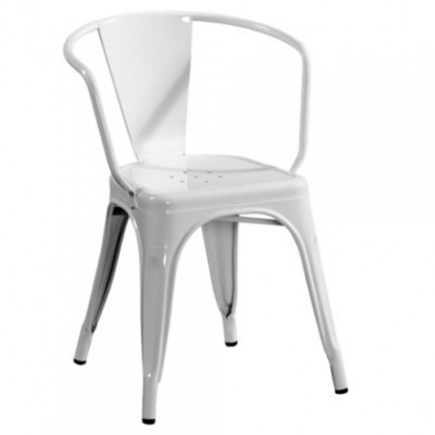 Tolix fauteuil A56 laque blanc