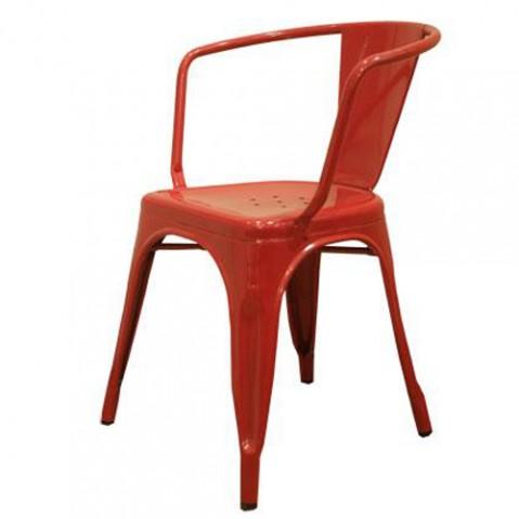 Tolix fauteuil A56 laque rouge