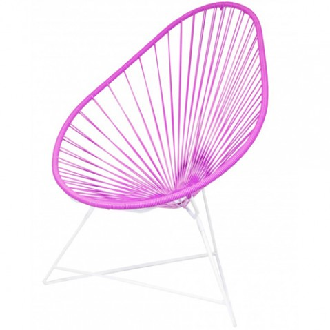 fauteuil acapulco blanc boqa fuchsia