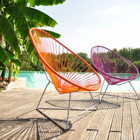 fauteuil acapulco blanc boqa bleu canard