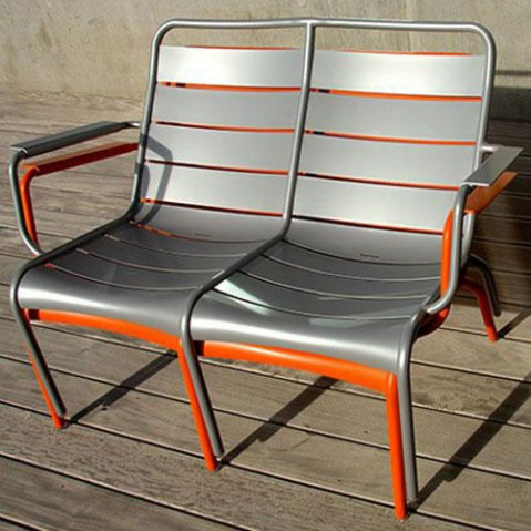 fauteuil bas duo luxembourg fermob rouille