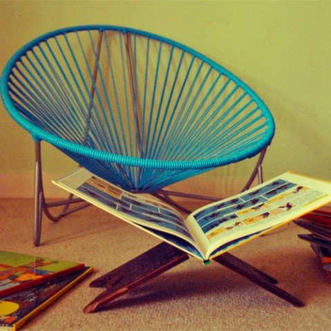 fauteuil bas tulum boqa bleu ciel