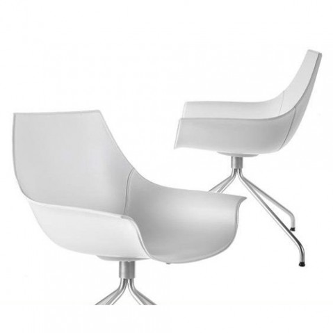 fauteuil pivotant cox inox cuir blanc