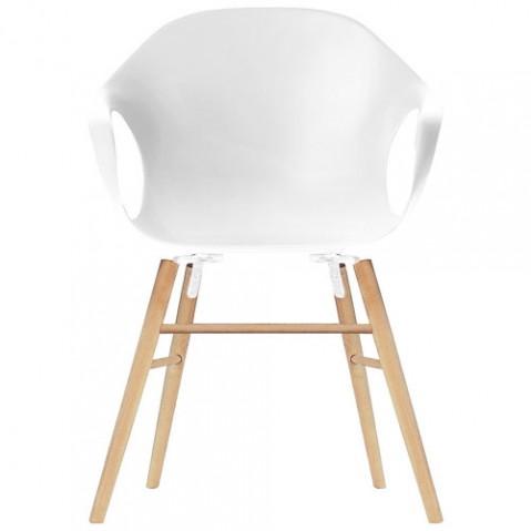 fauteuil elephant pietement bois kristalia blanc