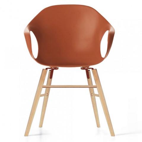 fauteuil elephant pietement bois kristalia terre cuite