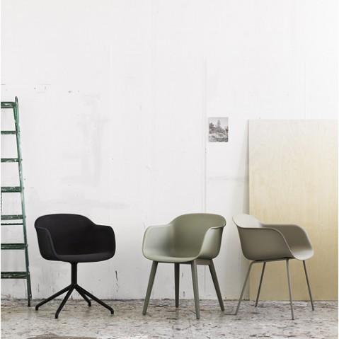 fauteuil fiber etoile muuto noir naturel