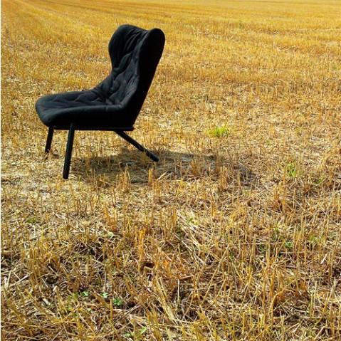 fauteuil foliage noir kartell trevira gris