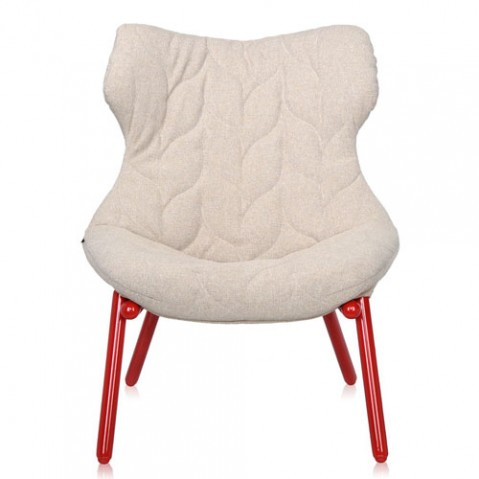 fauteuil foliage rouge kartell trevira beige