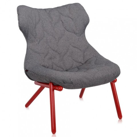 fauteuil foliage rouge kartell trevira gris