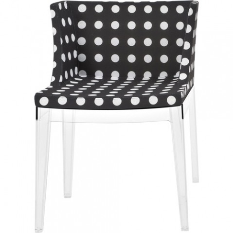 fauteuil mademoiselle kartell transparent pois blancs