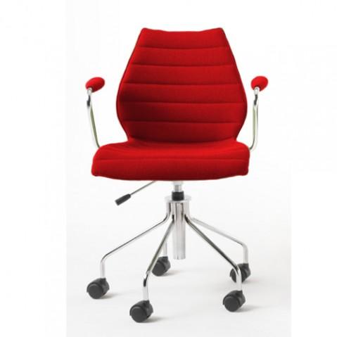 fauteuil roulettes maui soft kartell rouge