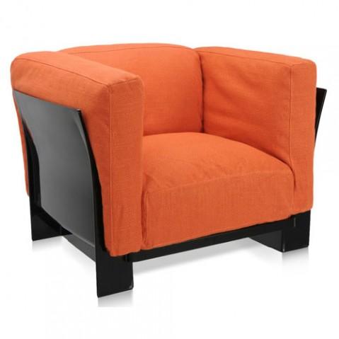 fauteuil pop duo kattell noir orange