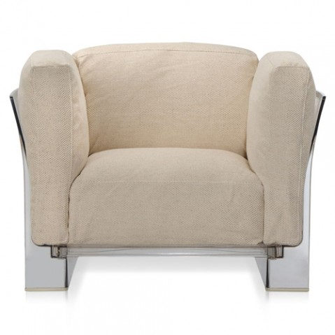 fauteuil pop duo kattell transparent ecru