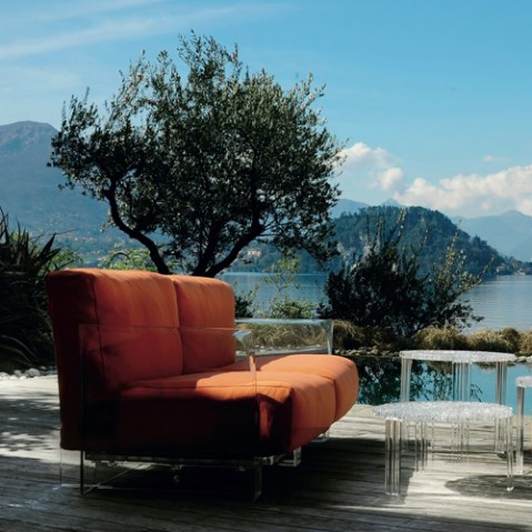 fauteuil pop outdoor kartell noir ikon orange