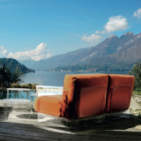 fauteuil pop outdoor kartell transparent sunbrella bleu