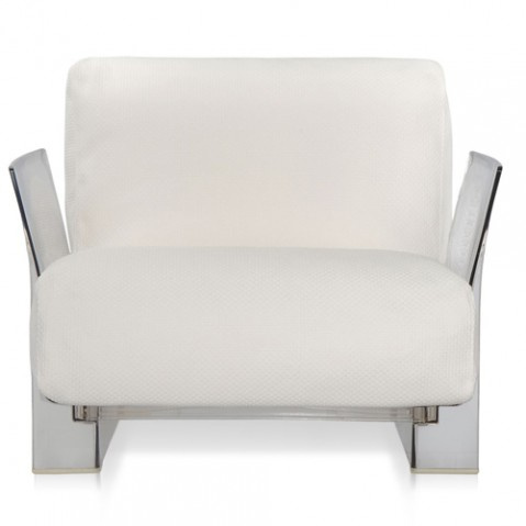 fauteuil pop outdoor kartell transparent ikon blanc