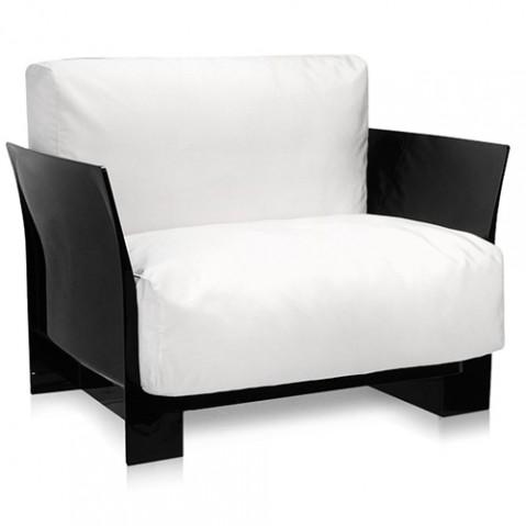 fauteuil pop outdoor kartell noir sunbrella blanc