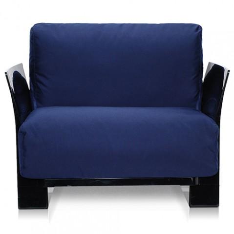 fauteuil pop outdoor kartell noir sunbrella bleu