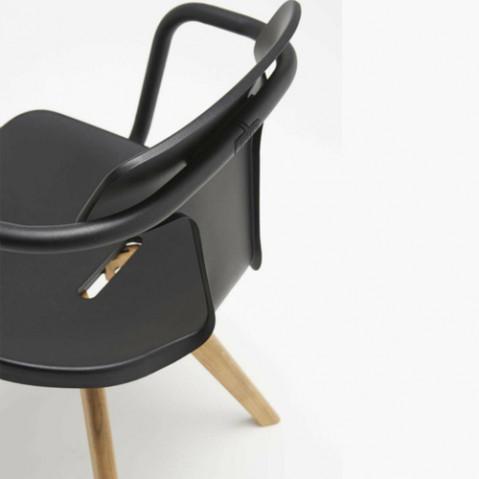 fauteuil t14 bois tolix noir
