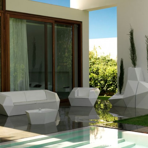 Faz Sofa Outdoor Design Vondom Laque Blanc