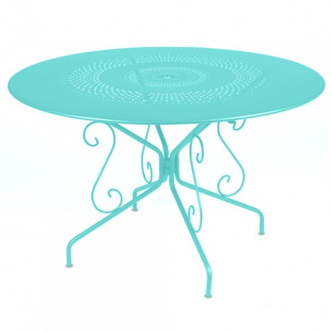 fermob montmartre table 117 cm bleu lagune