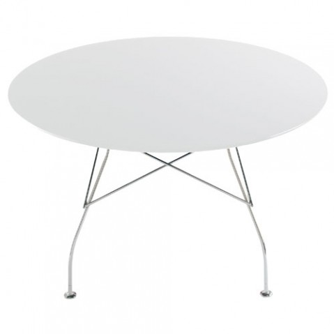 Glossy Table Ronde Design Kartell Blanc