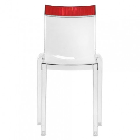 Hi Cut Chaise Design Kartell Transparent Rouge