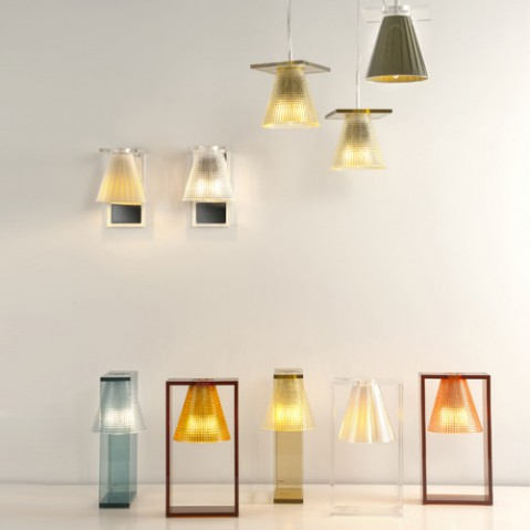 lampe poser light air sculptee kartell ambre