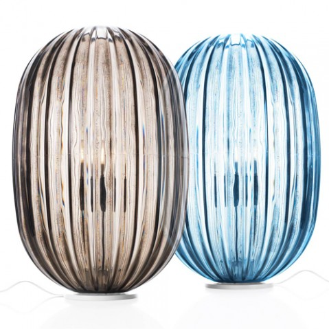 lampe poser plass media foscarini bleu variateur