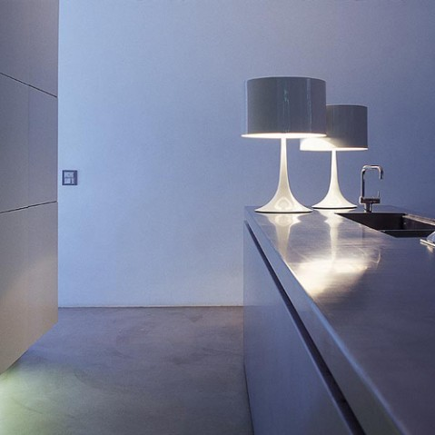 lampe poser  spun light t1 flos aluminium