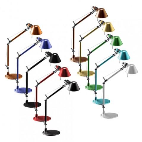lampe poser tolomeo micro led artemide aluminium
