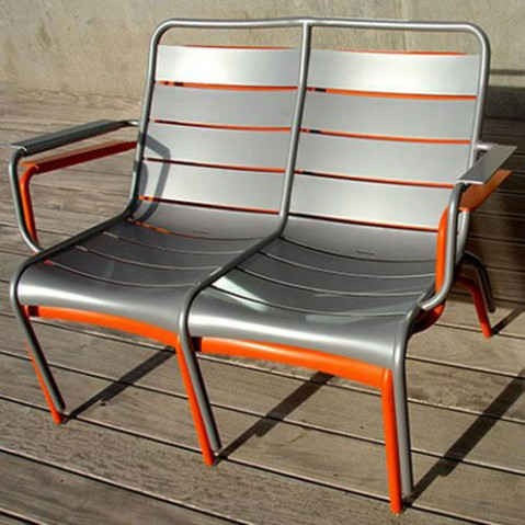 fauteuil bas duo luxembourg fermob gris metal