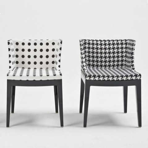 mademoiselle kartell fauteuil structure noir tissu pied de poule