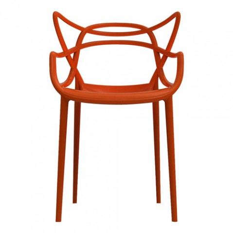 chaise masters kartell rouge orangé