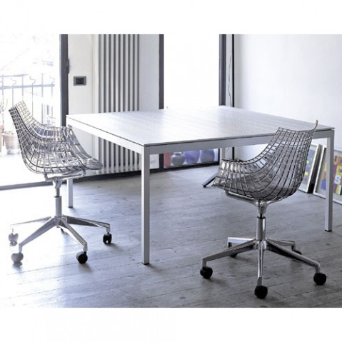 Meridiana Fauteuil Pivotant Base Patin Driade Gris Fume