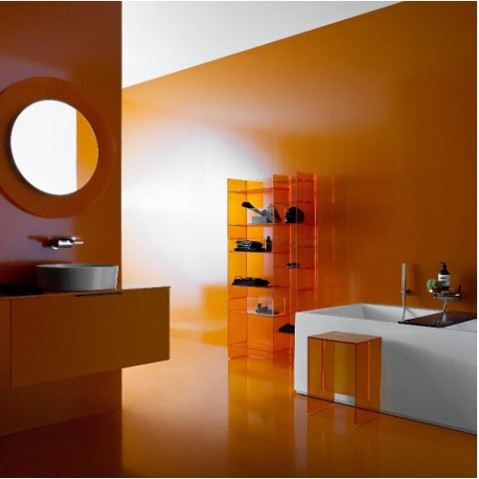 miroir all saints kartell orange transparent