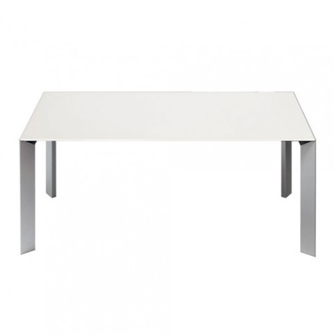 Nori Table Extensible Profondeur 100 cm Design Kristalia piètement aluminium Plateau Blanc