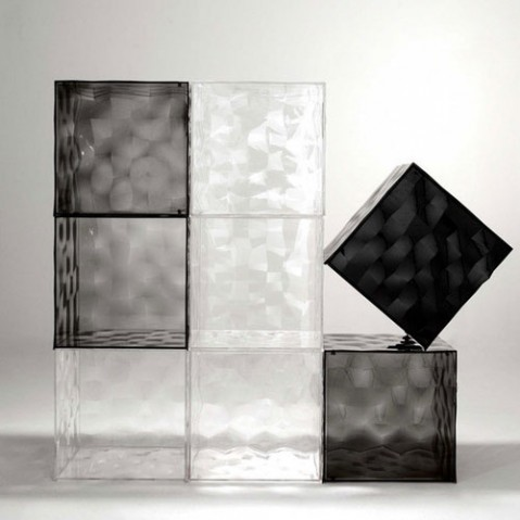 Optic Cube de Rangement Design Kartell Fume
