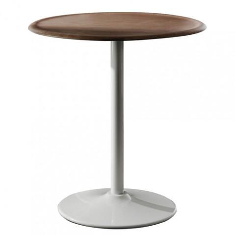 TABLE RONDE PIPE, Ø.66 cm, Structure blanche & plateau en hêtre naturel de MAGIS