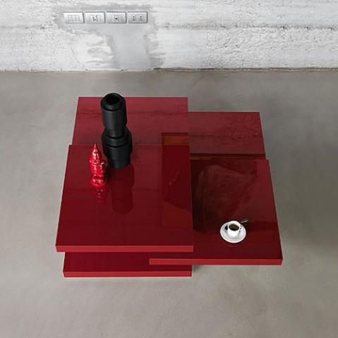 Rotor table basse Kristalia laqué rouge