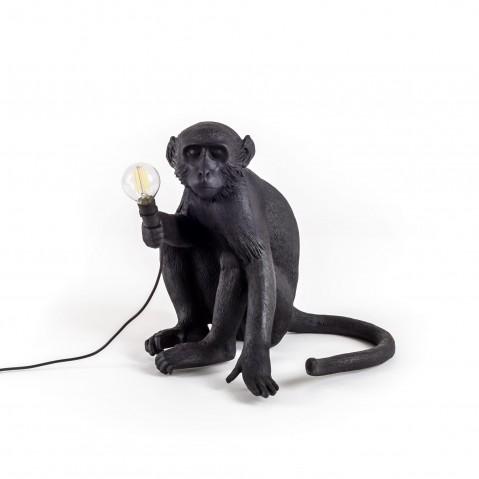 LAMPE A POSER MONKEY SITTING, Noir de SELETTI