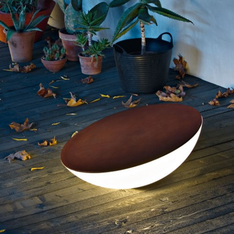 table basse lumineuse lampe de sol Solar foscarini exterieur marron