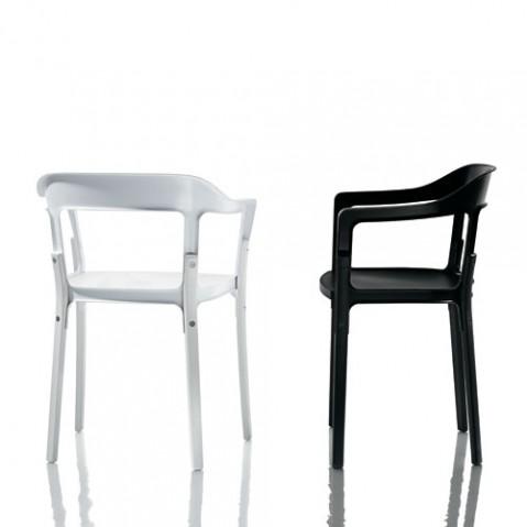 steelwood fauteuil design magis noir