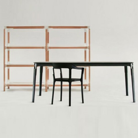 Steelwood Table Rectangulaire Design Magis Hetre et Blanc