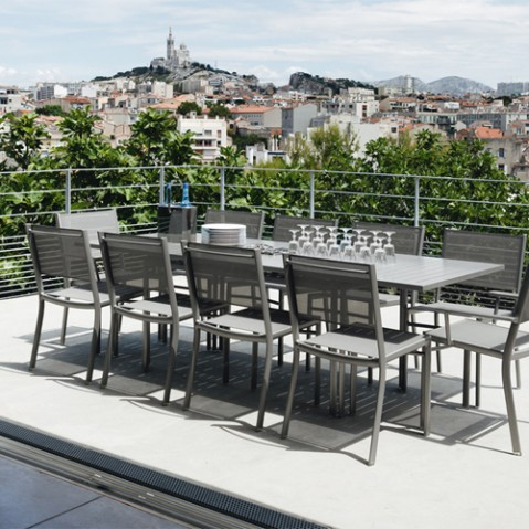 table allonge costa fermob gris orage
