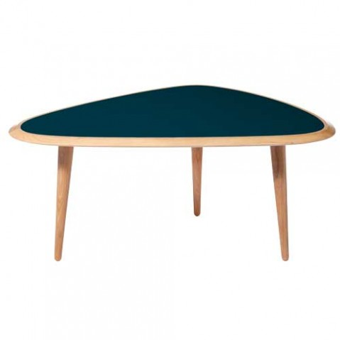 table basse fifties small red edition bleu paon