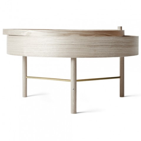 table basse turning menu chene laiton