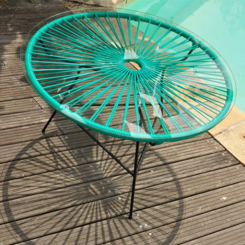 table basse zipolite boqa vert turquoise